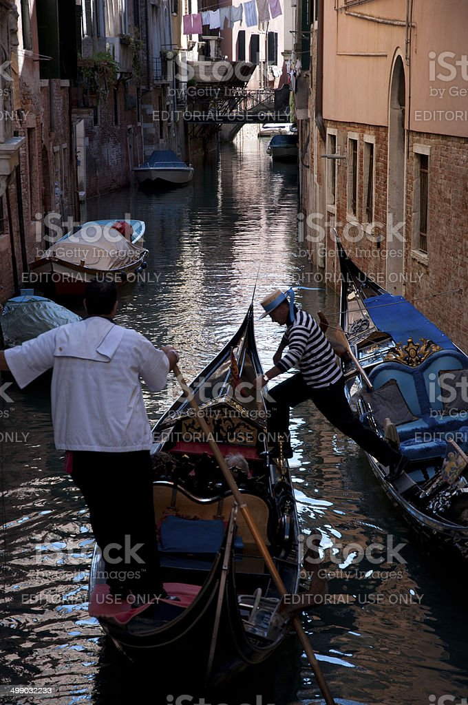 From a gondola to another gondola stock photo