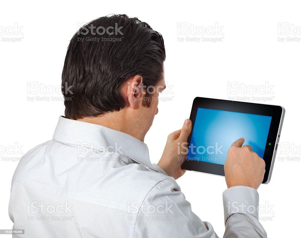 From Behind Male Using Digital Smart Tablet Device Isolated royalty-free stock photo