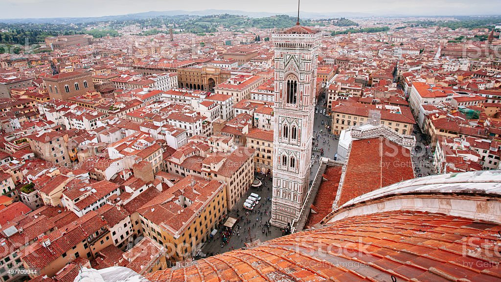 From Florence Duomo looking toward giotto's campanile stock photo
