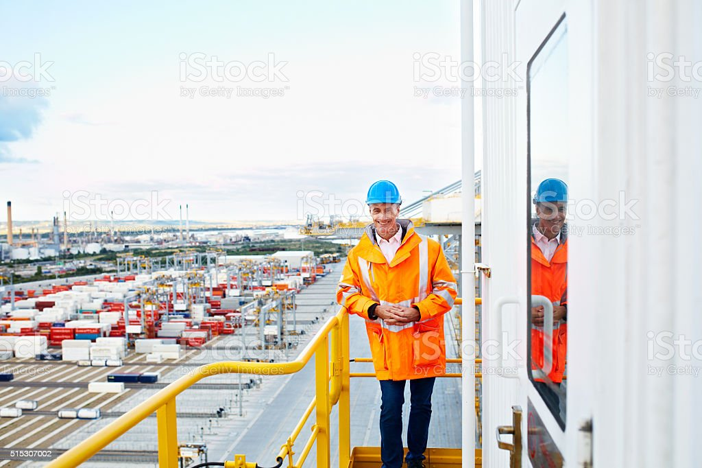 From here, I can see the whole shipyard stock photo