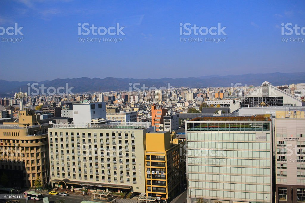 from kyoto station view Shiokoji Dori stock photo