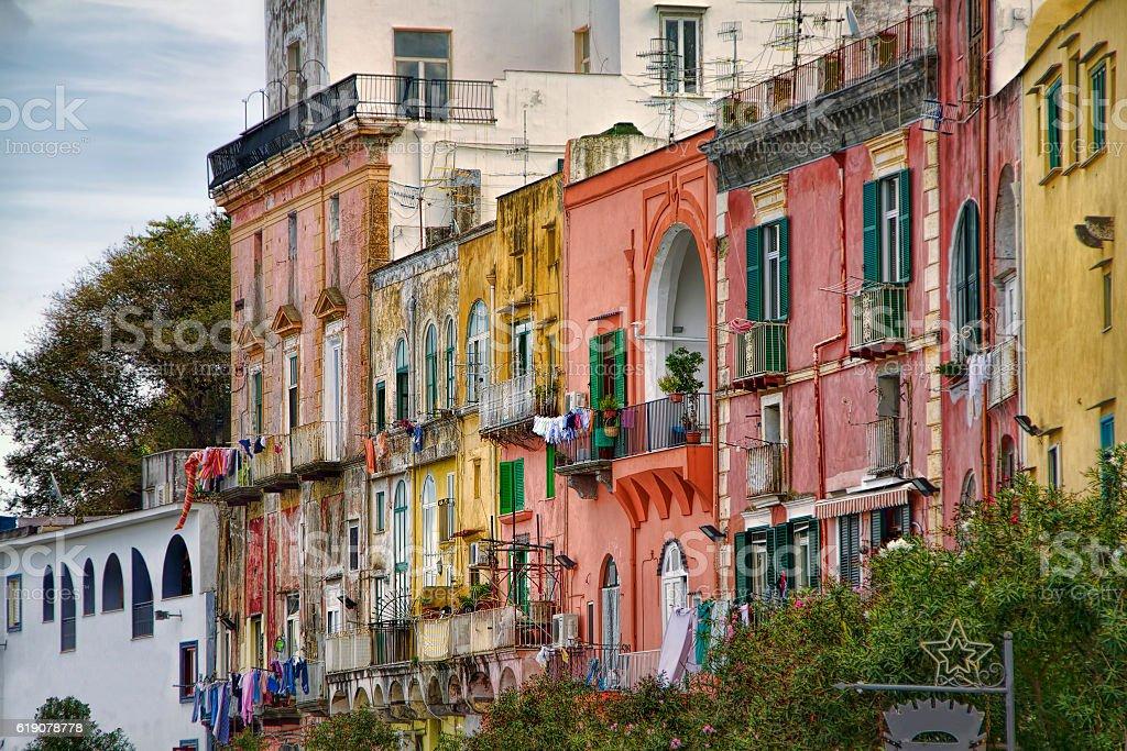 From Marina Grande, Procida, Bay of Naples, Italy stock photo