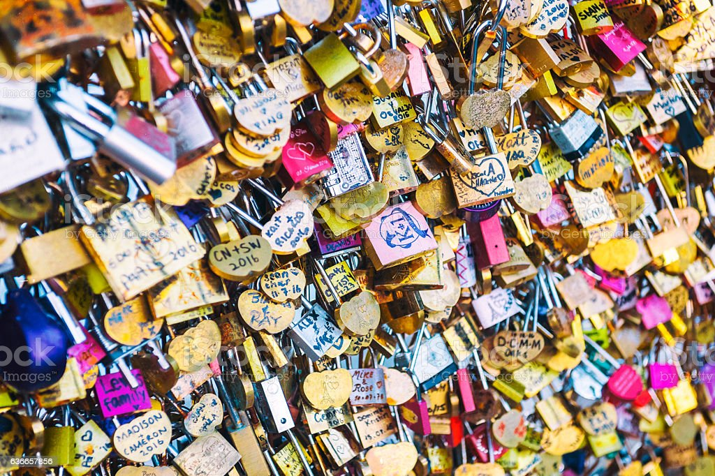 From Paris with Love - Locks on a Bridge stock photo