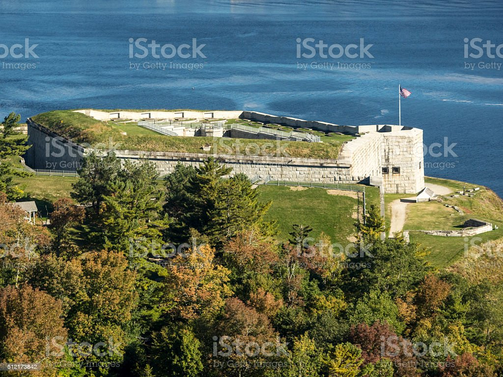 From Penobscot Narrows Bridge Observatory Fort Knox Historic Site Maine stock photo
