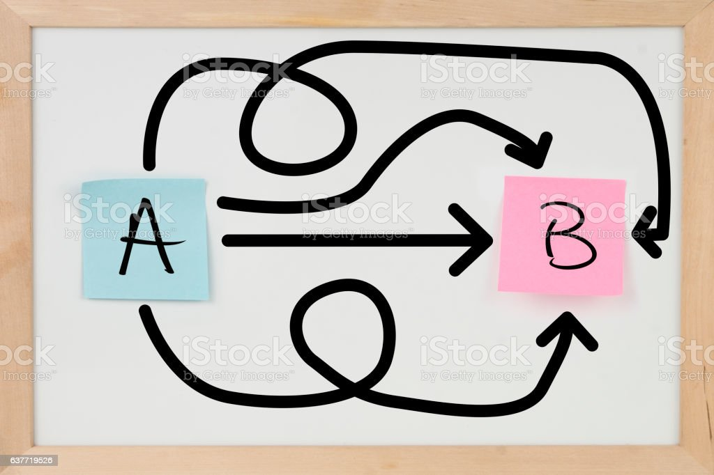 From point A to B Adhesive Notes on Whiteboard stock photo