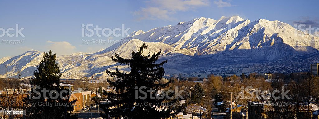 From Provo, Utah Looking North to Mount Timpanogos. stock photo