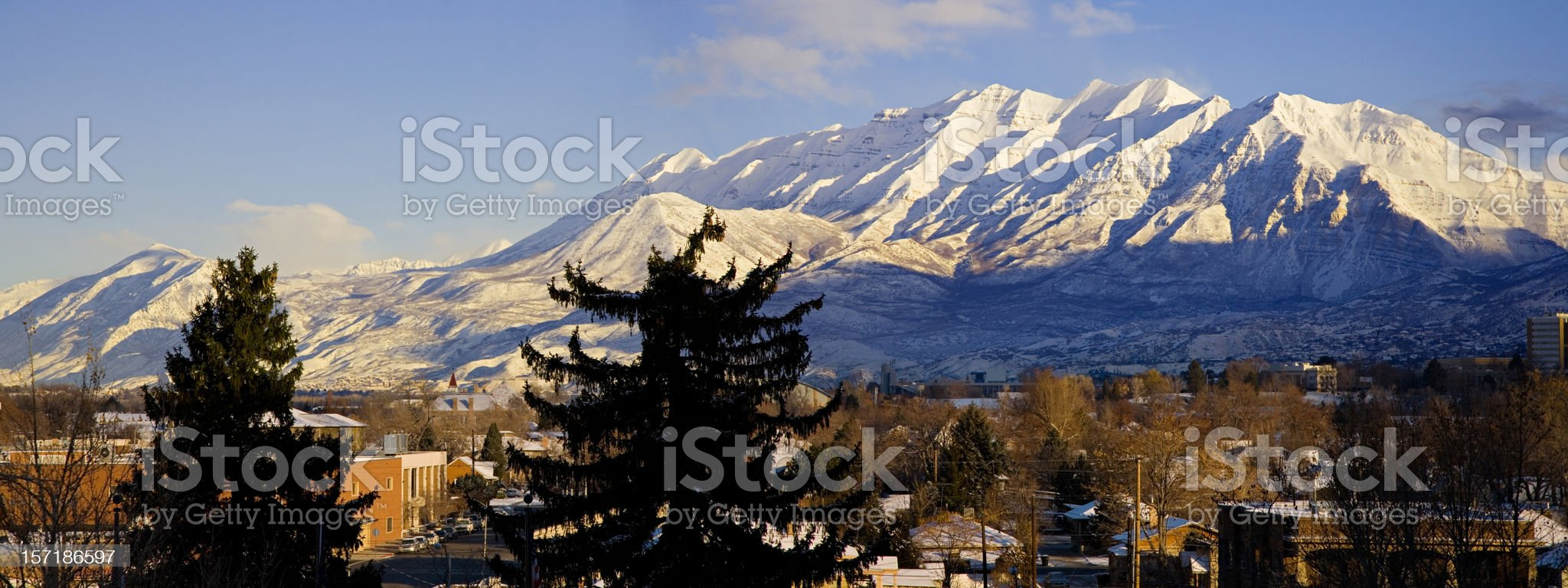 From Provo, Utah Looking North to Mount Timpanogos. royalty-free stock photo