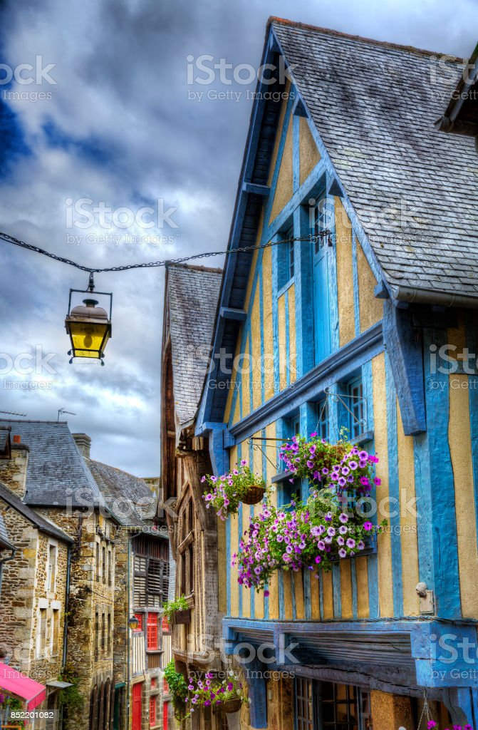 From Rue du Petit Fort, Dinan, Brittany, France stock photo