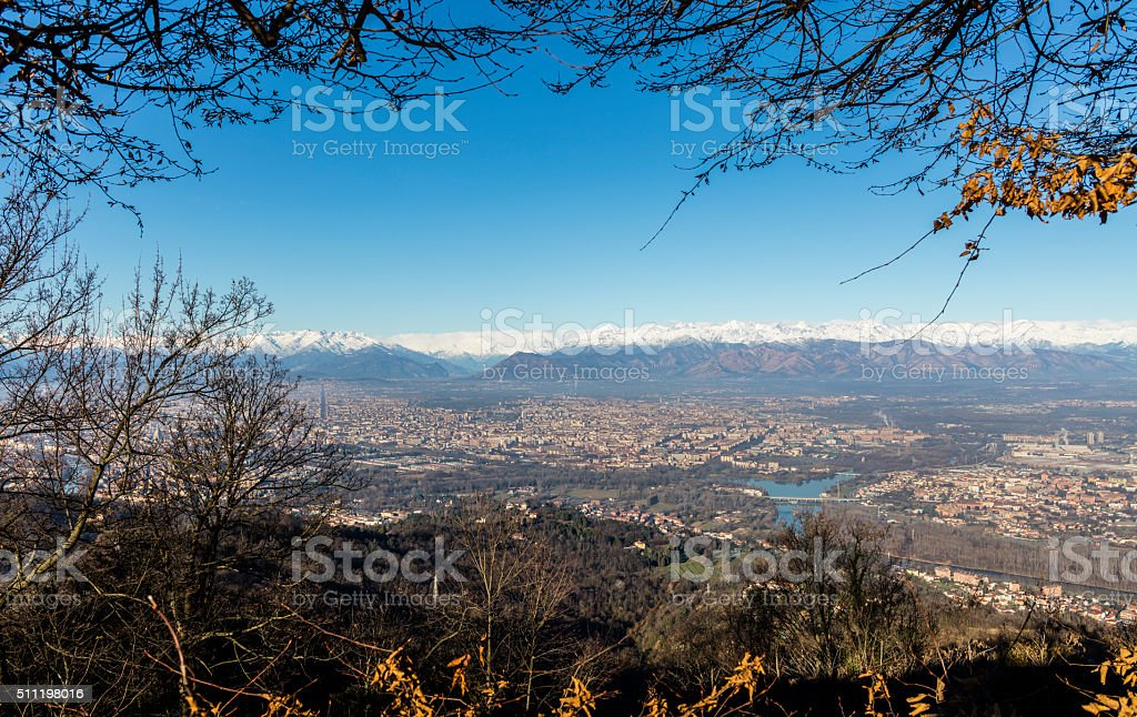 From Superga (Turin), overlook on Turin and the Alps stock photo