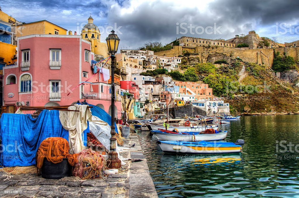 From the Island of Procida, Bay of Naples, Italy stock photo