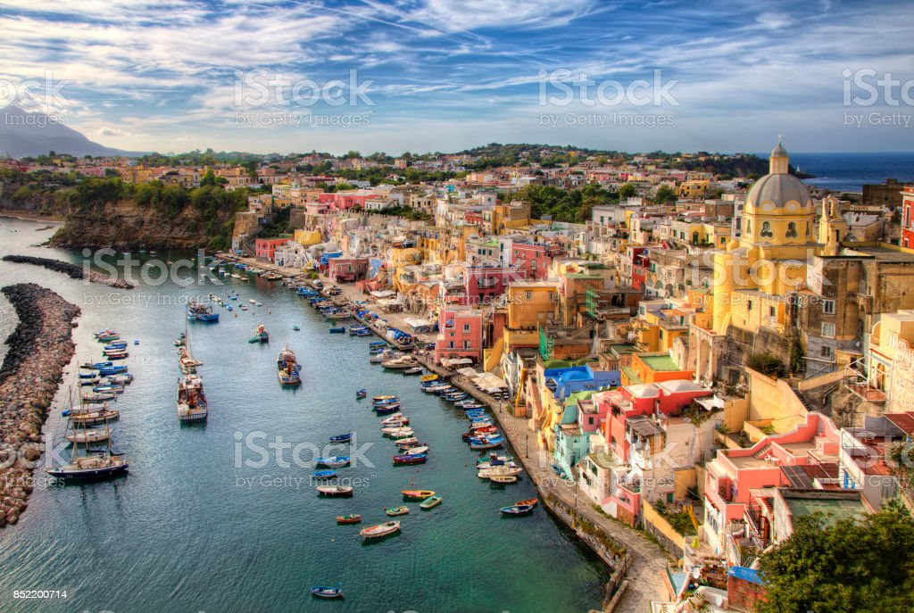 From the Island of Procida, Bay of Naples, Italy stock photo