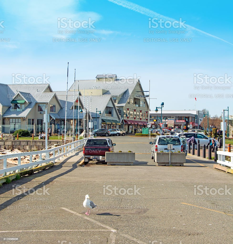 From the pier  up Beacon Street  in Sidney British Columbia stock photo