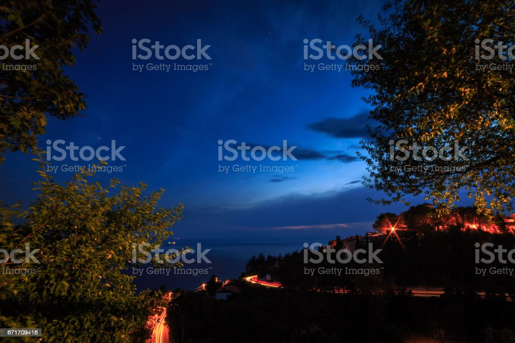 From the wood to the sea of Trieste stock photo