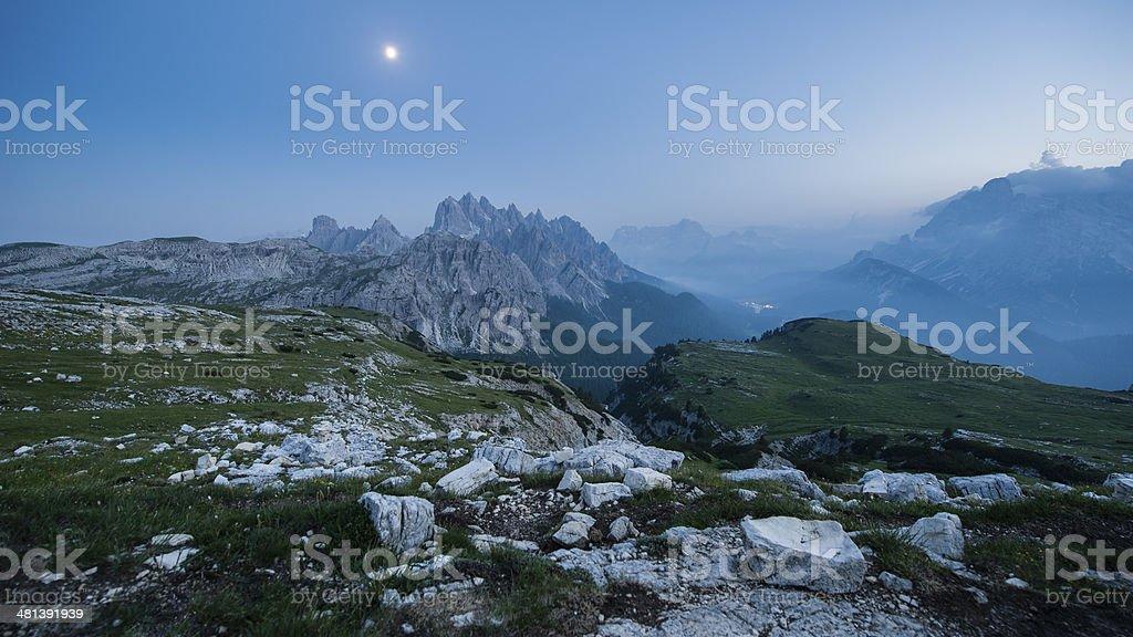 From Tre Cime di Lavaredo to Misurina lake royalty-free stock photo