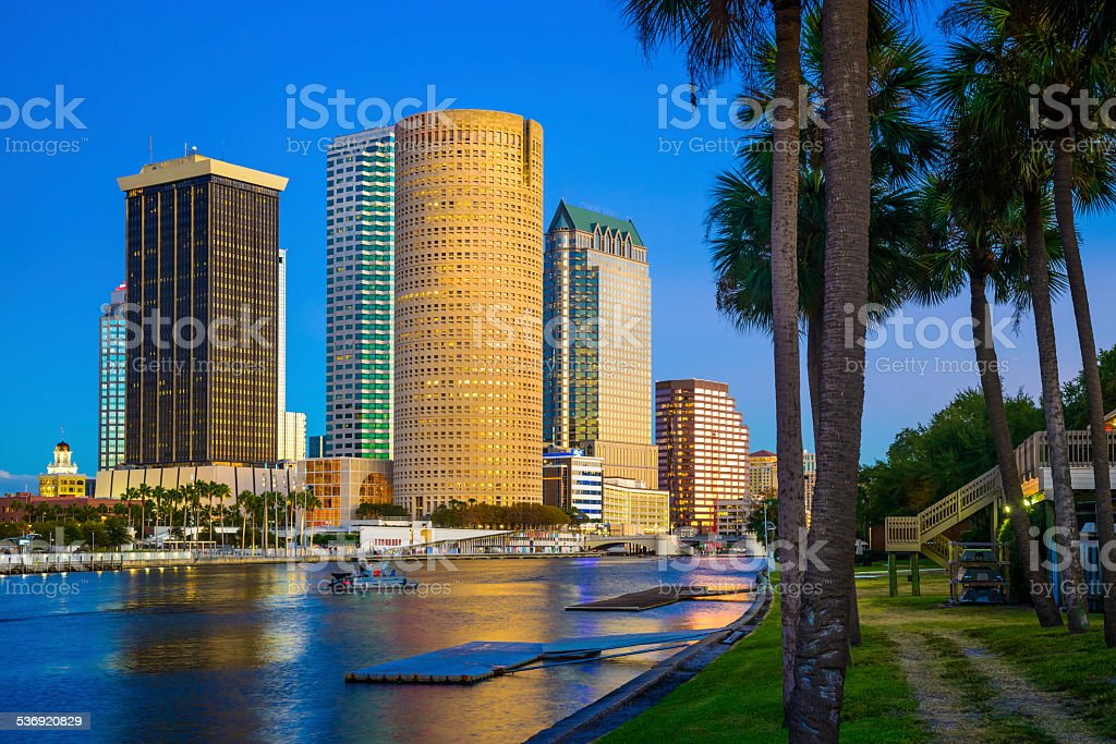 from University of Tampa Florida, skyline, skyscrapers, cityscape, palm trees, stock photo
