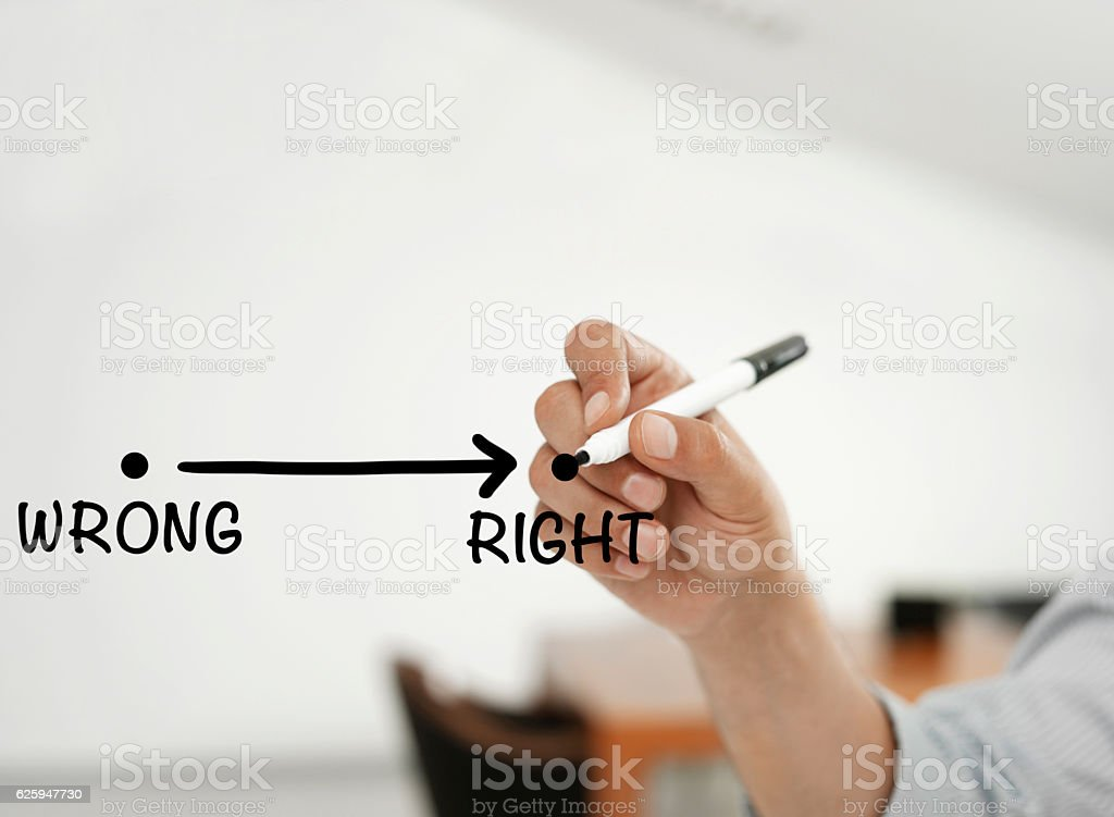 From wrong to right stock photo