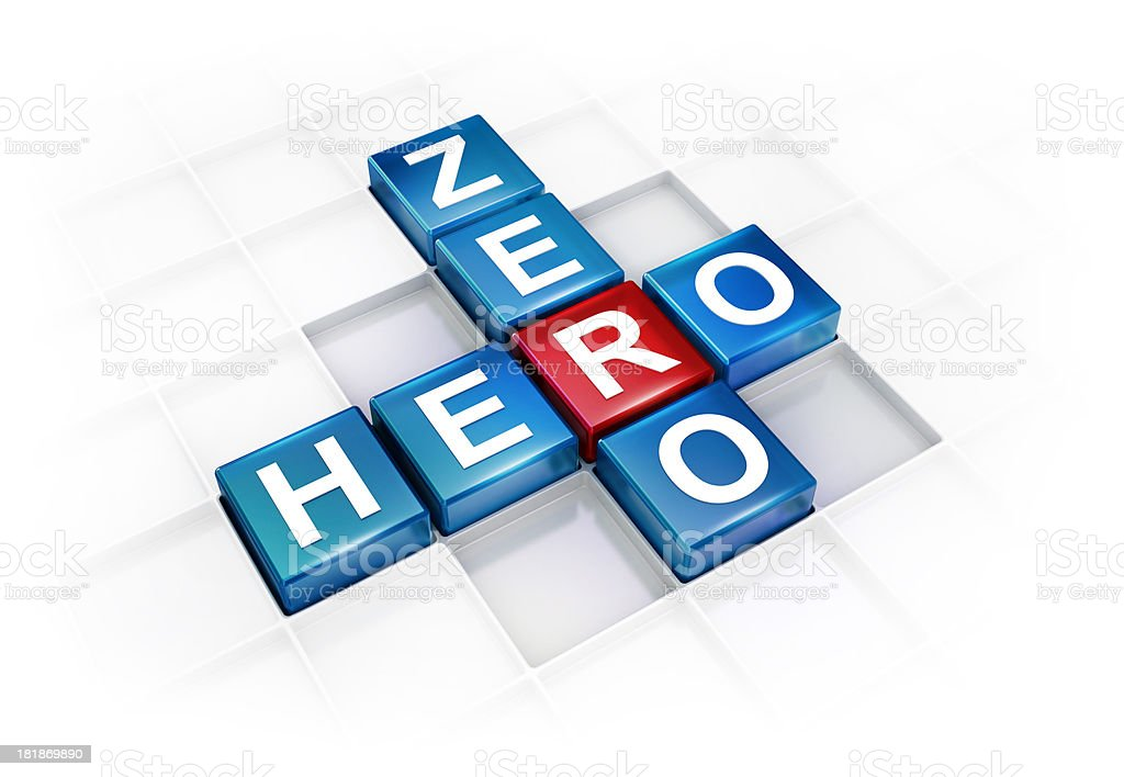 From Zero To Hero Crossword concept royalty-free stock photo
