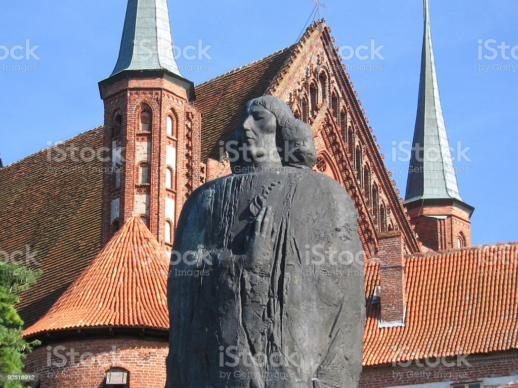 Frombork Cathedra with a statue of Copernicus stock photo