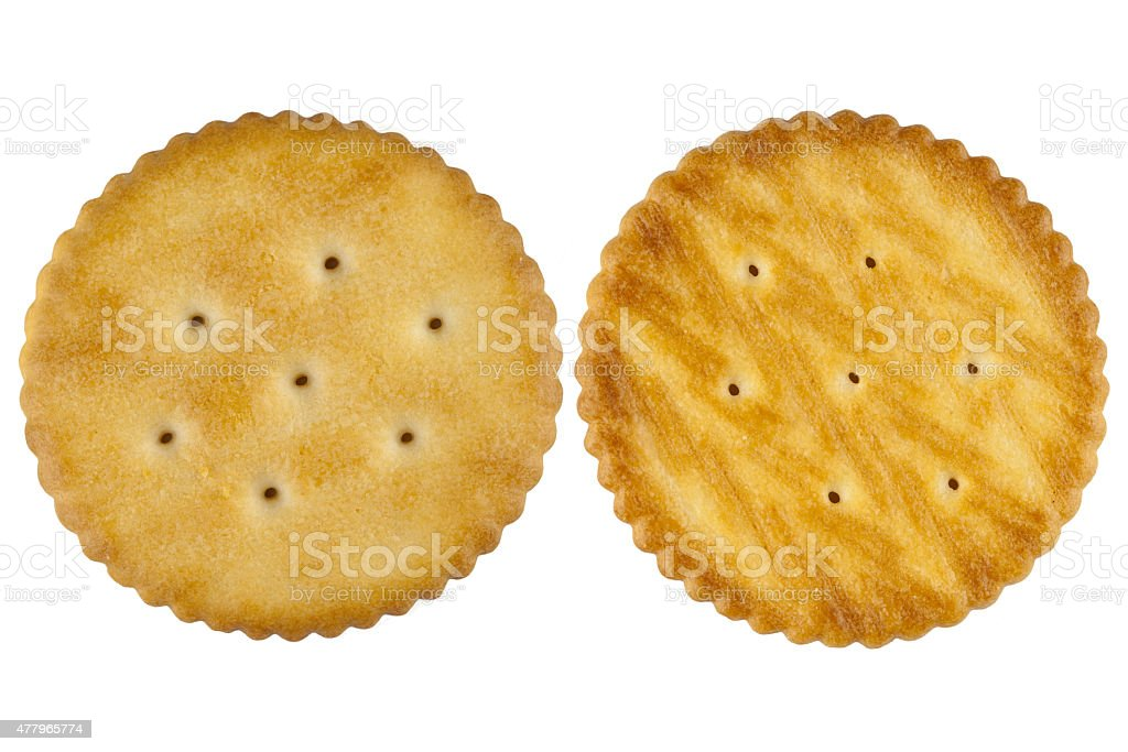 Front and back cracker stock photo