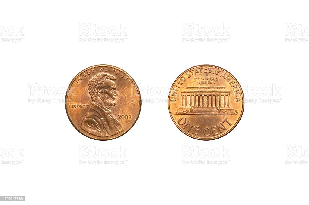 Front and back of USA coin 1 cent. stock photo