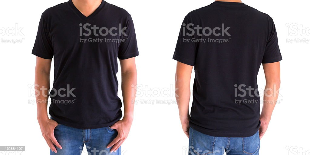 Front and back view of a person wearing a black t-shirt stock photo