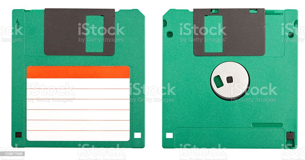 Front and back view of a real colored floppy disk  stock photo