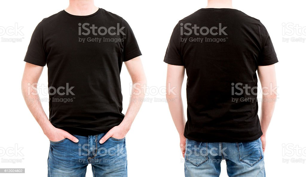 Front and back view tshirt template. stock photo