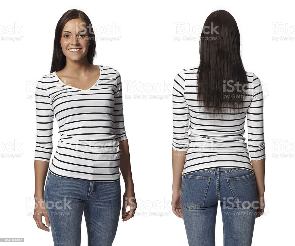Front and Back Views of a Young Woman - Isolated stock photo