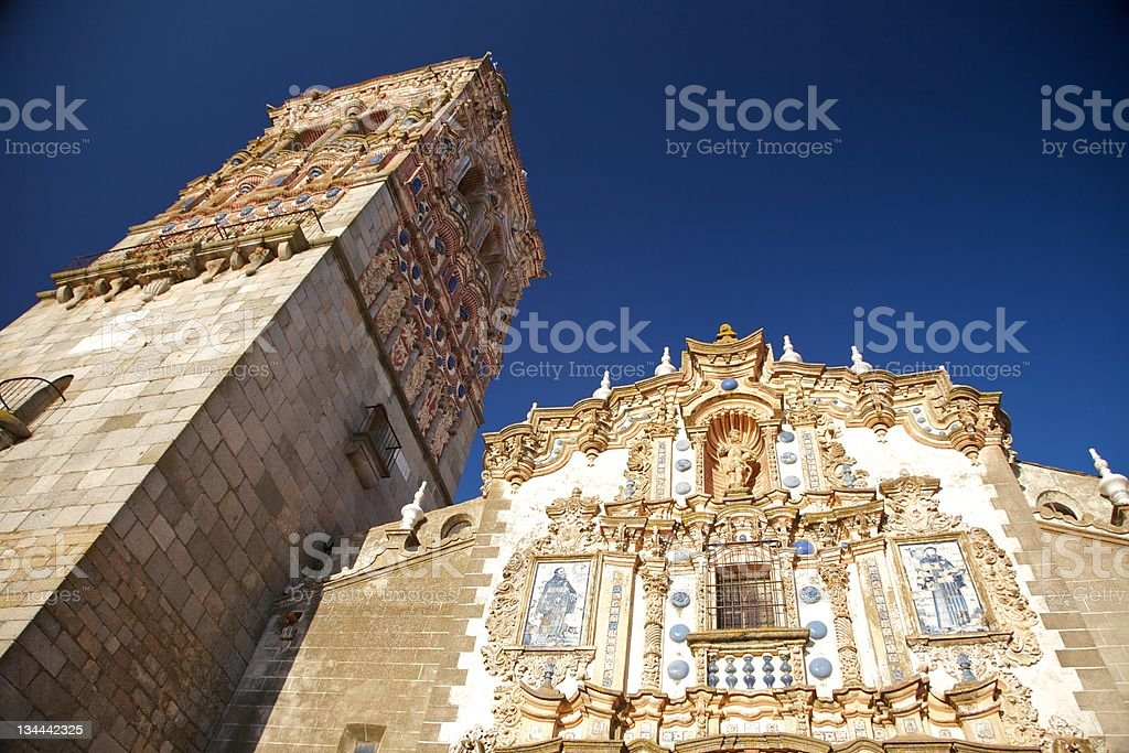 front and belfry of church stock photo