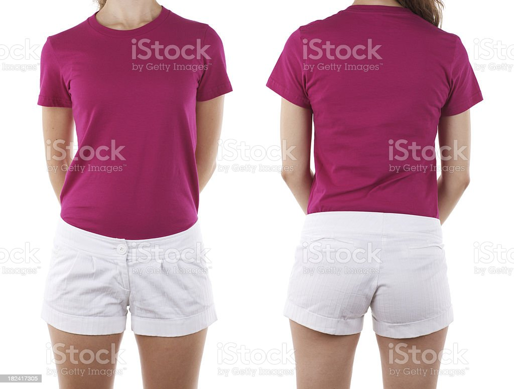 Front and rear view of woman wearing blank shirt royalty-free stock photo