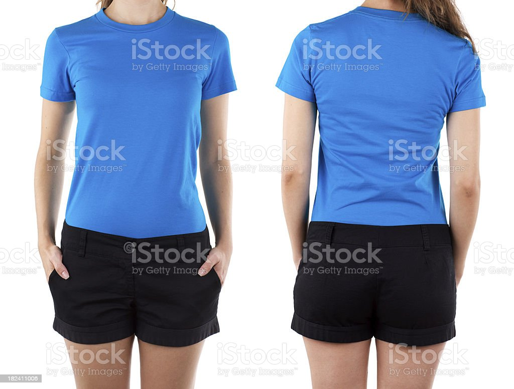 Front and rear view of woman wearing blue shirt stock photo