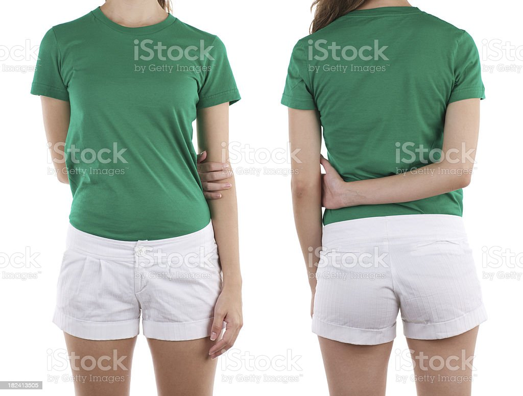 Front and rear view of woman wearing green shirt stock photo
