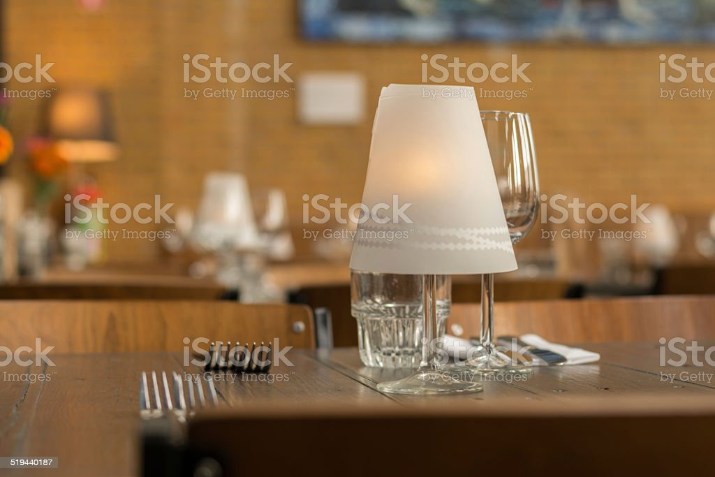 Front aspect of a dinner table stock photo