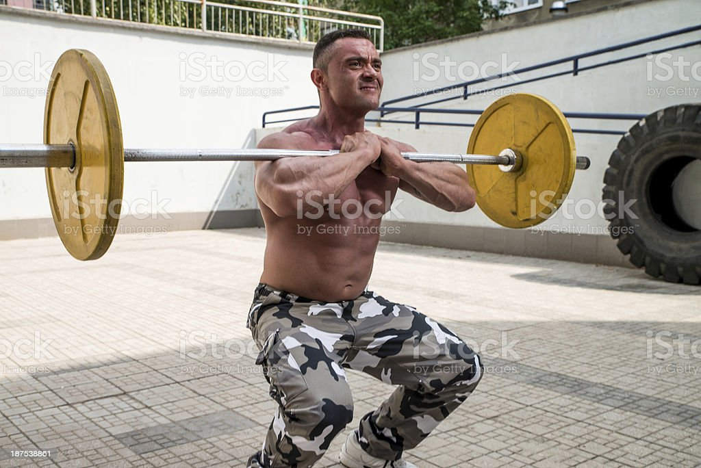 Front Barbell Squat royalty-free stock photo