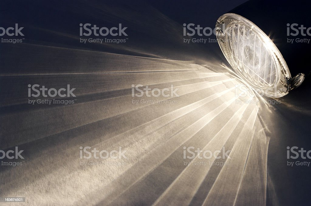 Front Bicycle Light Lighting Up Background stock photo