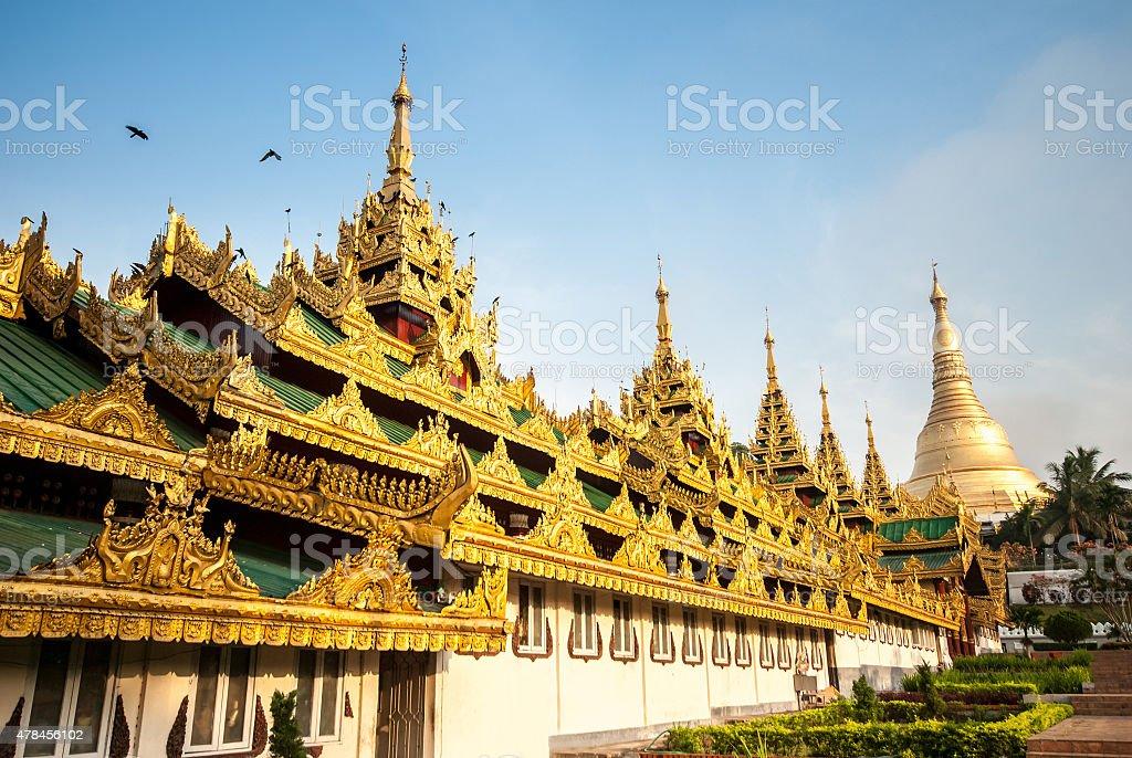 Front building of Shwedagon Pagoda stock photo