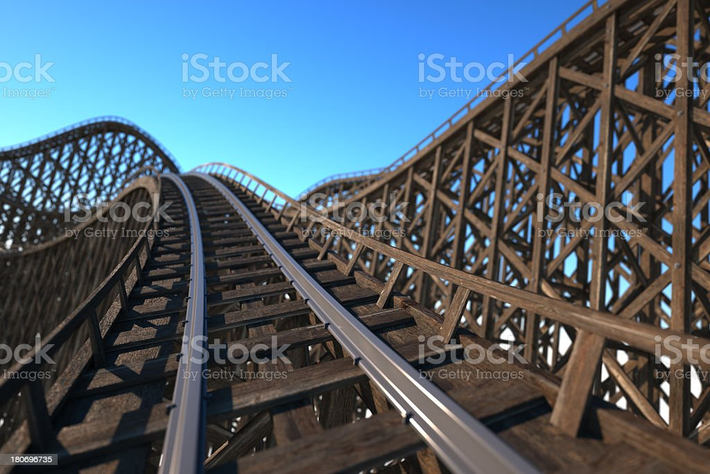 Front car view of a wooden roller coaster track stock photo