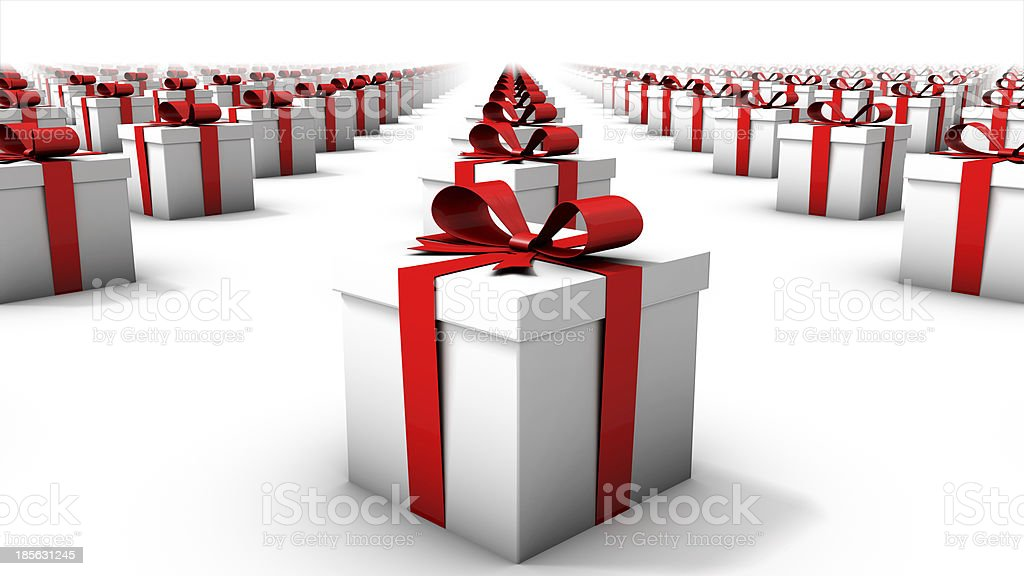 Front close-up view of endless gift boxes stock photo