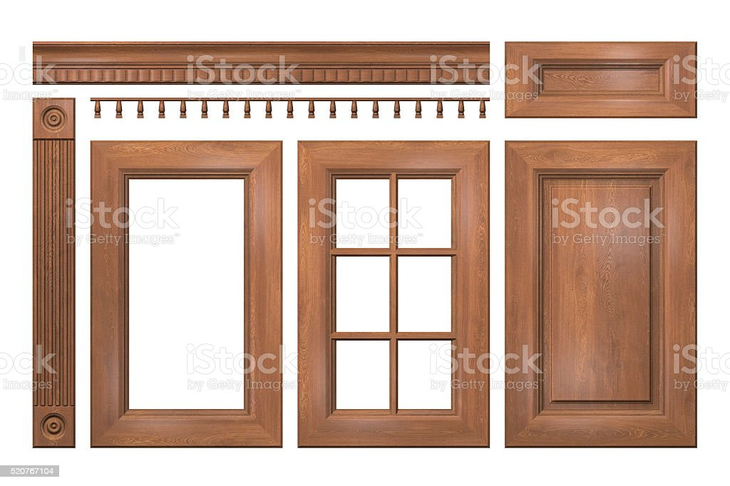 Front collection of isolated wooden doors for kitchen cabinet stock photo