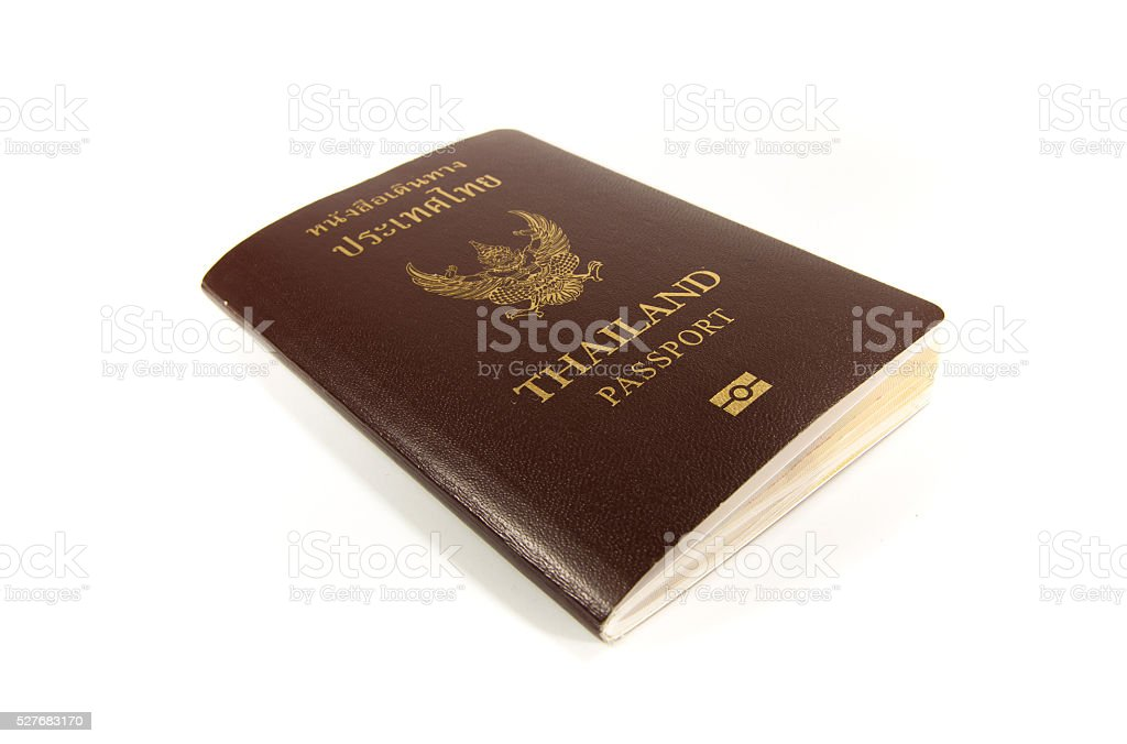Front cover of thai passport on white backgrond royalty-free stock photo