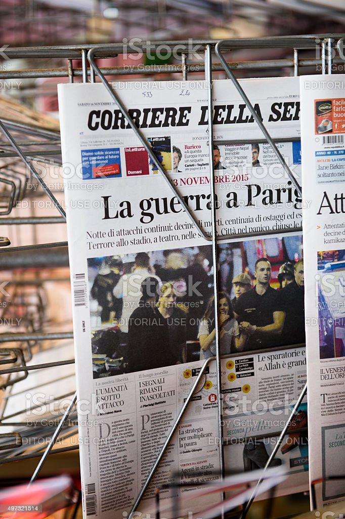 front covers of  Corriere della sera newspapers stock photo