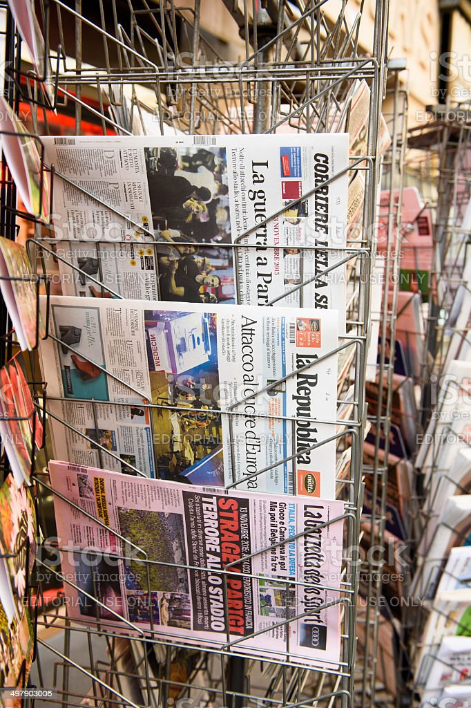 front covers of Italian newspapers stock photo