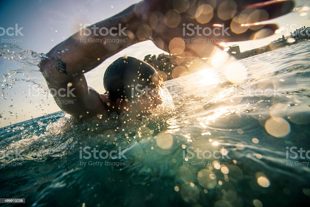 Front crawl stock photo