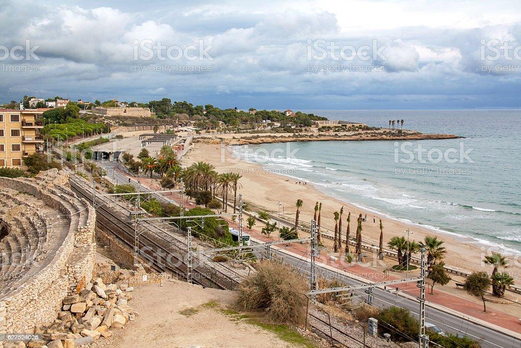 Front de mer et cirque romain, Tarragone, Espagne stock photo