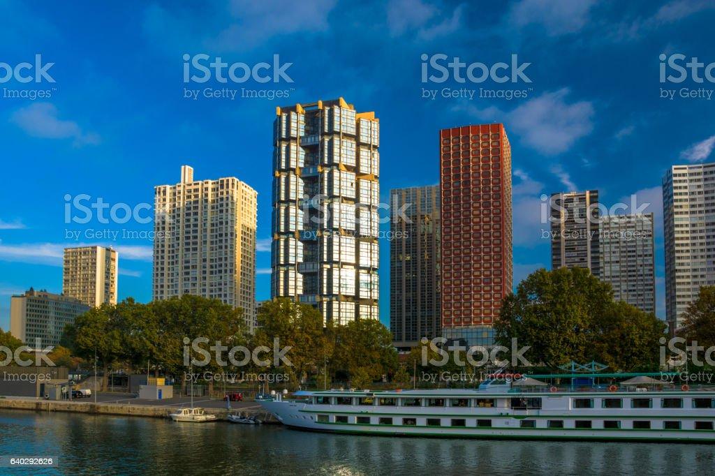 Front de Seine skyline in Paris stock photo