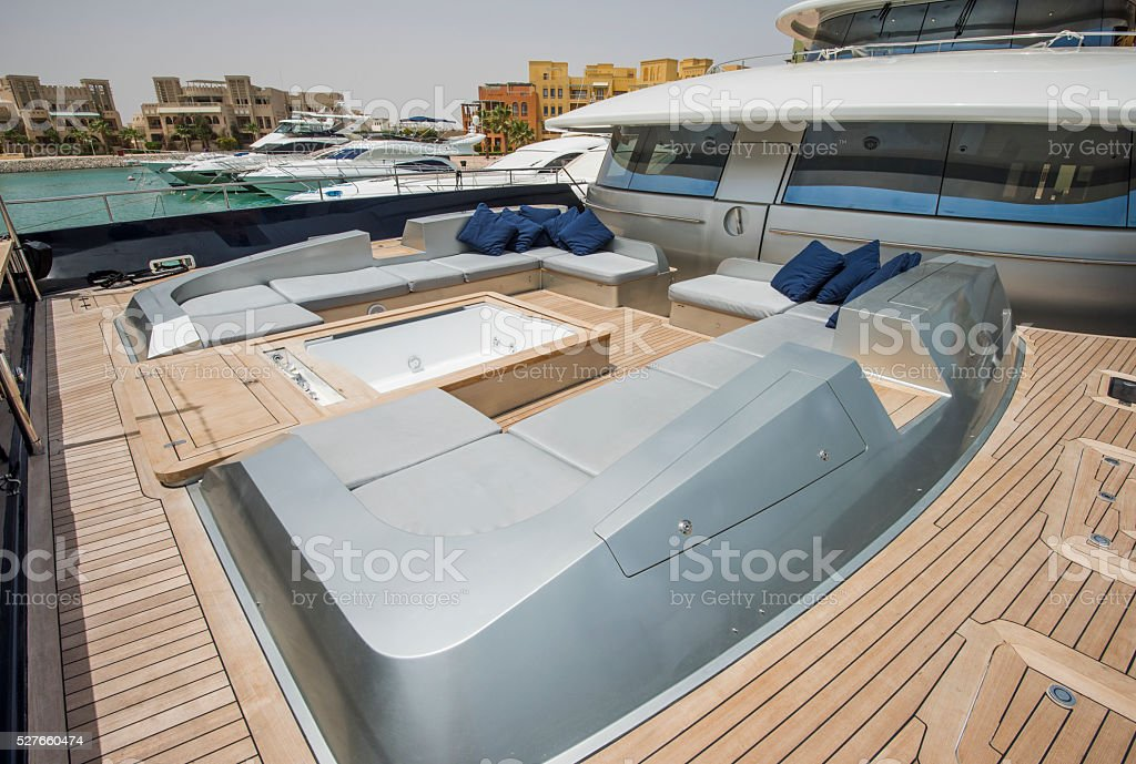 Front deck of a large luxury yacht with jacuzzi stock photo