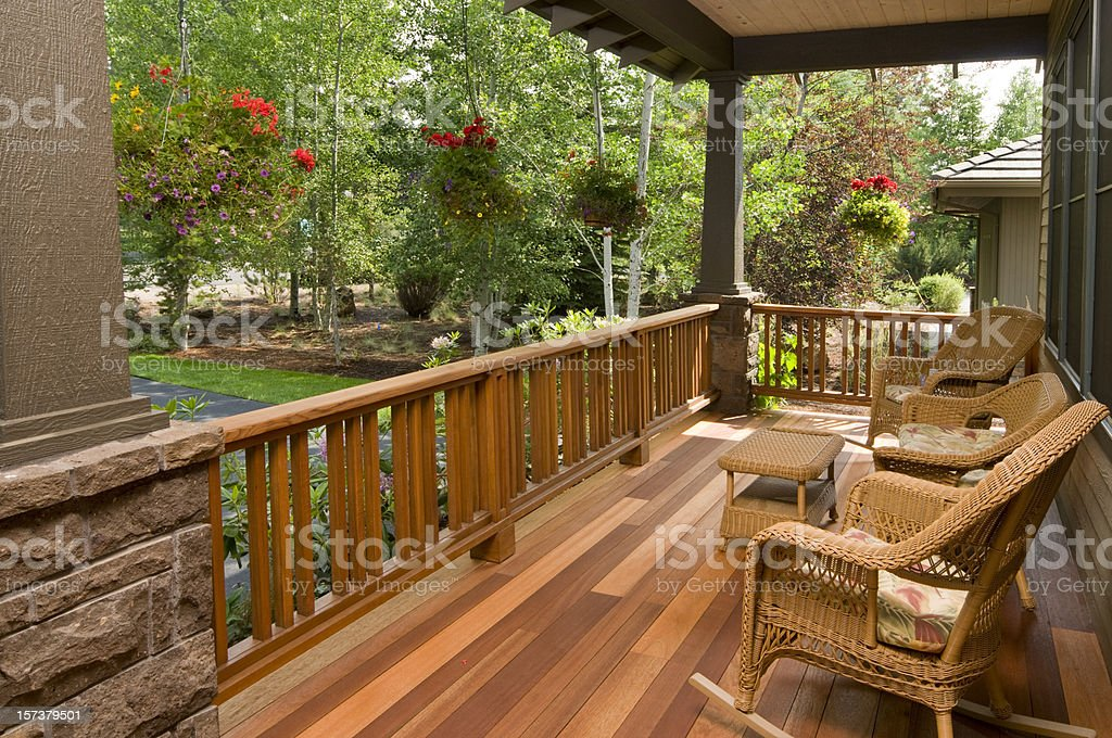 Front deck with wicker chairs royalty-free stock photo