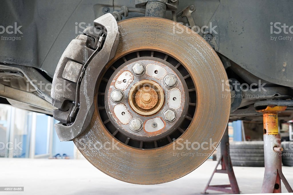 Front disk and caliper brake. stock photo