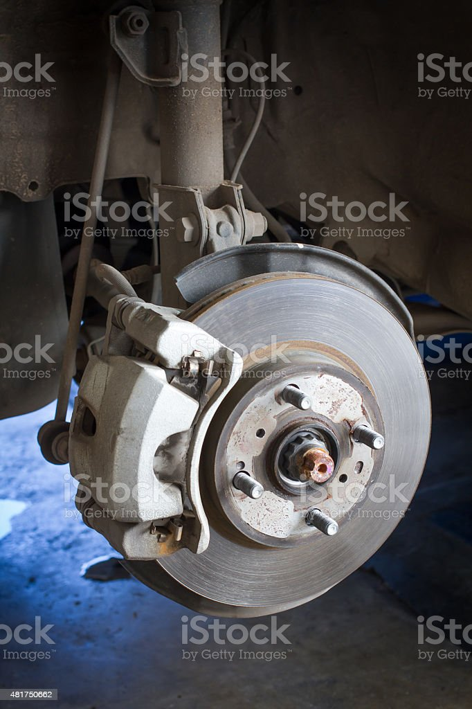 Front Disk brake assembly on a car stock photo