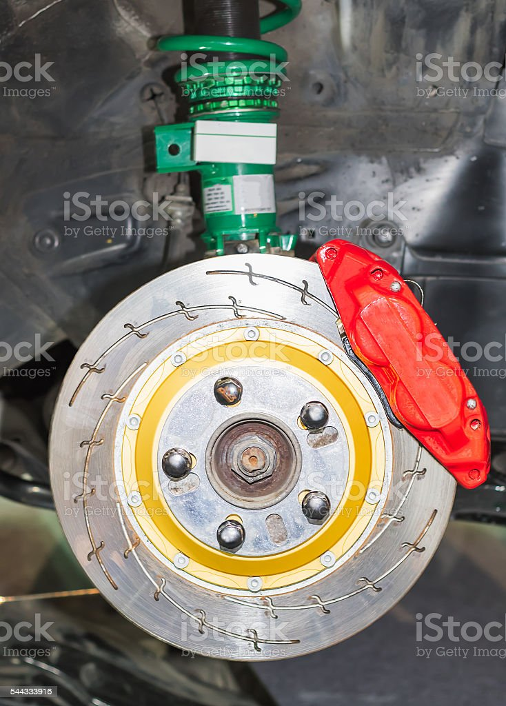 Front disk brakes system stock photo